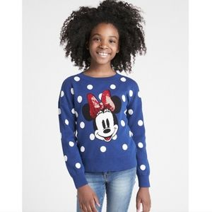 Gap girls blue polka dot Minnie Mouse sweater